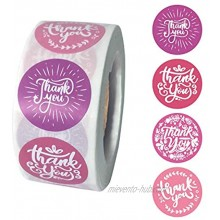 PMCDS2G Thank You Stickers Roll 1inch Pink Purple Wreath Four Styles 500 Units in One Set