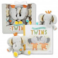 We are Twins Baby and Toddler Twin Gift Set- Includes Keepsake Book and Set of 2 Plush Elephant Rattles for Boys and Girls. Perfect for Newborn Infant Baby Shower Toddler Birthday – Christmas