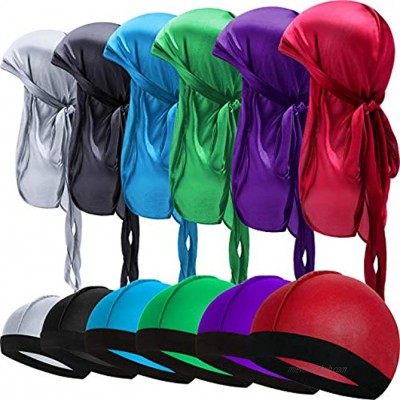 12 Pieces Kids Satin Silk Durag with Wave Caps Set Unisex Baby Durags 360 Wave Wide Strap Headwraps Long Tail Turban Beanies