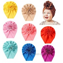 Cinaci 8 Pack Solid Big Flower Bow Beanie Turban Hats Caps Headwraps for Baby Girls Infants Toddlers Kids