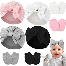 Hicarer Newborn Baby Girl Turban Hat Gloves 4 Pieces Hats and 4 Pairs Mittens