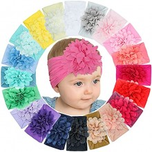 DeD 20 Pcs Baby Girls Nylon Headbands Big Chiffon Flower Soft Stretchy Hair Band Hair Accessories for Newborns Infants Toddlers