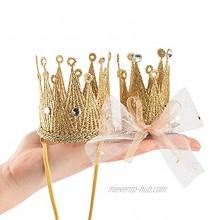 Qishare Baby Birthday Crown Headband 2Pcs Elastic Tiaras Mini Birthday Crown for Baby Girl or Pet Photo Prop Hair Clips Party Hat for WomenGold