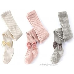 Baby Girls Bowknot Tights Cable Knit Cotton Leggings Stockings Cotton Pantyhose Infant Toddler
