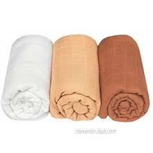 Baby Fever Muslin Swaddle Blankets 3 Pack 47x47 inches 70% Cotton 30% Cotton Unisex 2 Layers Fabric Buttery Soft Breathable Essential Solid Colors Receiving Blankets Infant Gift Set