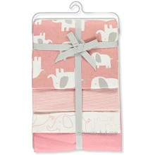 Carter's 4-Pack Elephant March Receiving Blankets Pink White one Size