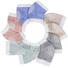 Cristgee Unisex Baby Knee Pads Toddler Leg Warmers Infant Kneepads Elastic Short Socks Cotton Silicone Protectors for Crawling 6-24 Monthes 5 Pairs