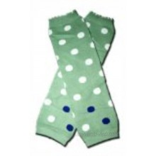 GREEN WITH WHITE POLKADOTS Baby Leggings Leggies Leg Warmers for Cloth Diapers GIRLS OR BOYS & ONE SIZE by BubuBibi