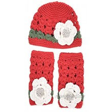 """""""Punchu and Me"""" Christmas Edition Newborn Baby Girl Crochet Knit Hat and Leg Warmers"""
