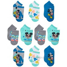 Disney Baby Boy's Mickey Mouse Socks Low Cut No-Show Ankle Socks 10 Pack