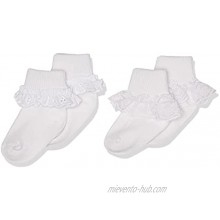 Jefferies Socks 2 Pack Eyelet Lace Trim And Lace Trim Sock White White