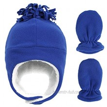 Baby Toddler Winter Hat with Mitten Set Warm Fleece Lined Beanie with Ear Flaps Kids Sherpa Glove for Boys Girls 0-7T