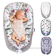 SMTTW Baby Nest Baby Lounger Co Sleeping Bassinet for Baby Newborn Lounger 100% Soft Cotton Breathable with Baby Pillows for Sleeping Portable Bassinet as Baby Shower Gifts Flower