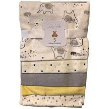 5-Pack Baby Flannel Receiving Blankets Yellow and Grey Elephants