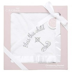 C.R. Gibson Silver Cross 'Bless This Child' Receiving Blanket for Babies 40'' W x 30'' H