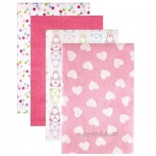Luvable Friends 4 Count Flannel Receiving Blankets Pink Heart Discontinued by Manufacturer