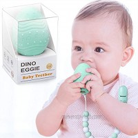 Dino Eggie Egg Teether Baby Teething Toy with Silicone Beaded Pacifier Holder Clip BPA-Free for Baby Boys and Girls Mint